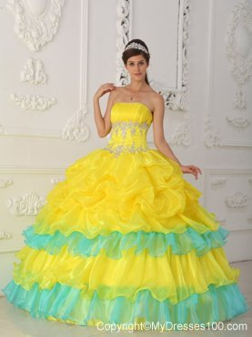 Bright Yellow Quinceanera Dresses-Black and Yellow-Blue &amp- Pink ...