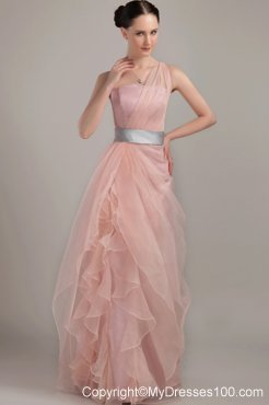 Light Pink Column Sheath One Shoulder Pageant Dresses with Ruffles