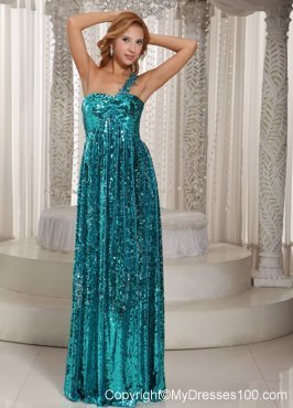 Teal Paillette Over Skirt One Shoulder Luxurious Pageant Dresses