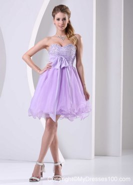 2013 Lilac Sweetheart Beaded Sash Short Party Dresses Knee-length