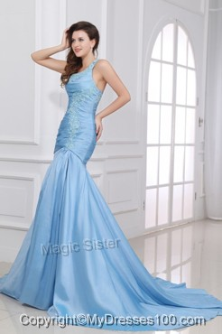 Blue A-Line Sweetheart Taffeta Evening Dresses with Appliques Brush Train