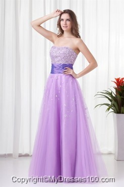 Lovely A-line Strapless Tulle Lilac Beading Evening Dress with Lace Up