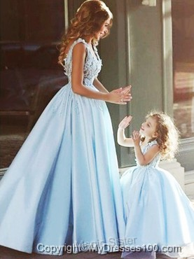 Luxurious V Neck Satin Evening Dress with Appliques and Most Popular Big Puffy Little Girl Dress with Straps