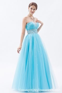 Green Blue Sweetheart Prom Dresses