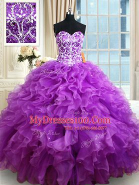 Glorious Sleeveless Beading and Ruffles Lace Up Quinceanera Gown