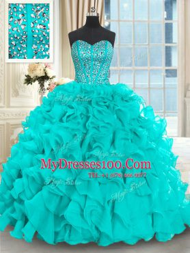 Flare Sweetheart Sleeveless Quince Ball Gowns With Brush Train Beading and Ruffles Aqua Blue Organza