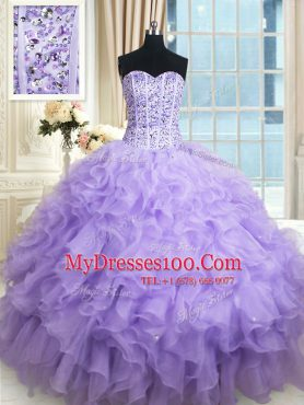 Sweetheart Sleeveless 15 Quinceanera Dress Floor Length Beading and Ruffles Lavender Organza