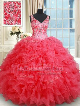 Backless Coral Red Sleeveless Beading and Ruffles Floor Length Sweet 16 Dresses