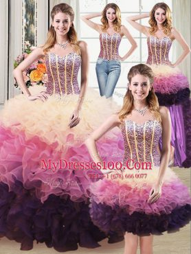 Four Piece Multi-color Lace Up Sweetheart Beading and Ruffles Quinceanera Gowns Organza Sleeveless
