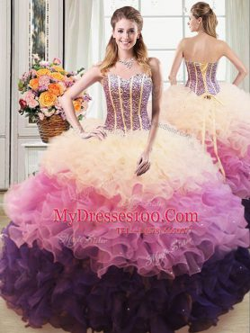 New Arrival Ball Gowns Quinceanera Gown Multi-color Sweetheart Organza Sleeveless Floor Length Lace Up