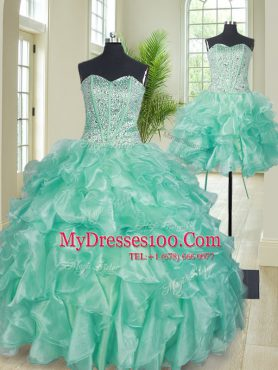 Extravagant Three Piece Sweetheart Sleeveless Organza Sweet 16 Quinceanera Dress Beading and Ruffles Lace Up