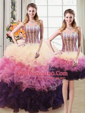 Three Piece Multi-color Sweetheart Lace Up Beading and Ruffles 15 Quinceanera Dress Sleeveless