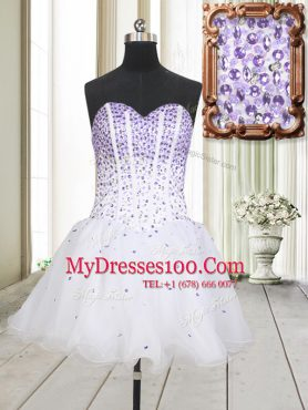 Modern White Sleeveless Beading Mini Length Party Dress