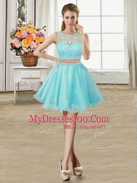 Flirting Aqua Blue A-line Scoop Sleeveless Tulle Mini Length Zipper Beading Ball Gown Prom Dress