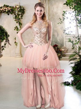 Glamorous Scoop Peach Tulle Zipper Club Wear Sleeveless High Low Beading
