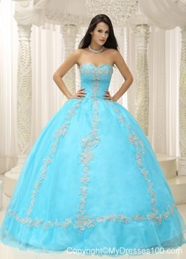 Charming Appliques Puffy Sweetheart Quinceanera Dresses in Aqua Blue