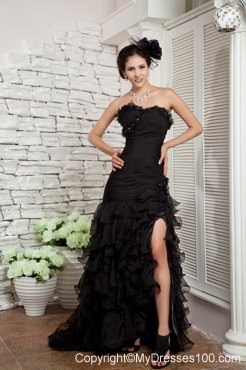 Lovely Black Mermaid Ruched Sweep Train Prom Dress Discount