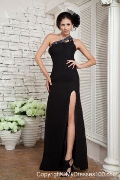 Black One Shoulder Column Chiffon Prom Dress with Beadings