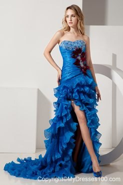 Royal Blue High-low Sweetheart Beading Ruffle Layers Prom Evening Dress