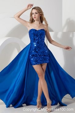 Sexy Sweetheart Paillette Royal Blue Mini Prom Evening Dresses