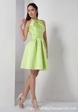 High-Neck with Keyhole A-line Bridesmaid Dress in Yellow Green