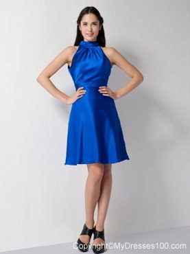 High neck a line bridesmaid dress knee length in royal blue