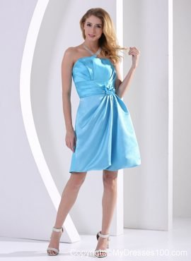 Aqua Blue Hand Made Flower and Ruche Maid of Honor Dress