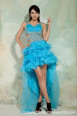 Pretty Sky Blue Princess Straps High-low Cocktail Dresses With Beading