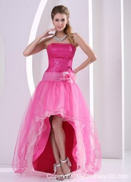Beautiful High-low Hot Pink Sequins Hand Made Flower Prom Dresses