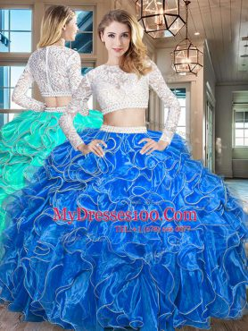 Modern Royal Blue Scoop Neckline Beading and Lace and Ruffles Ball Gown Prom Dress Long Sleeves Zipper