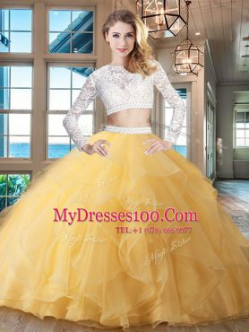 Gold Scoop Neckline Beading and Lace and Ruffles Sweet 16 Quinceanera Dress Long Sleeves Zipper