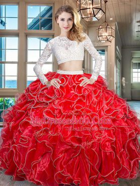 Custom Made Scoop Long Sleeves Floor Length Beading and Lace and Ruffles Zipper Ball Gown Prom Dress with Red