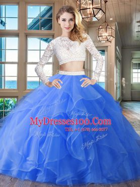 Blue Two Pieces Scoop Long Sleeves Organza Brush Train Zipper Beading and Lace and Ruffles Quince Ball Gowns