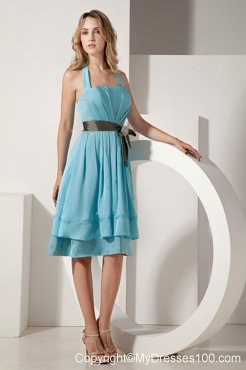 Bow Aqua Blue A-line Halter Bridesmaid Dress Taffeta Ruche and Sash