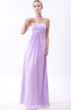 Embroidery Lavender Empire Bridemaid Dress Floor-length Chiffon