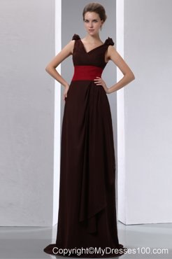 Ruching Brown Column V-neck Red Sash Bridesmaid Dress Brush Train