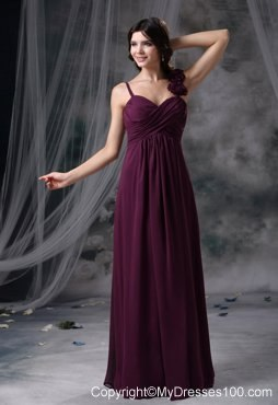 Hand Flowers Straps Dark Purple Bridesmaid Dresses Chiffon Column
