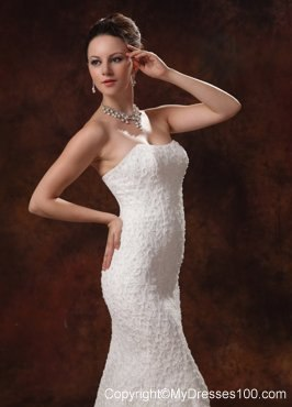White mermaid lace dresses for wedding with brush train for Wedding dresses albany ga