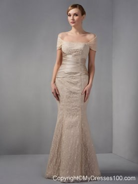Champagne Mermaid Wedding Guest Dress Off The Shoulder Beading Floor Length Lace 182 67