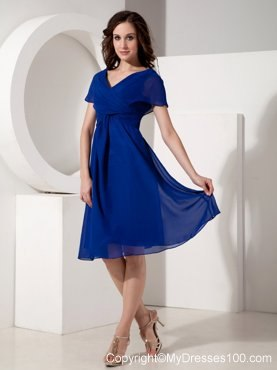 Elegant Royal Blue Mother Of The Bride Dress Empire V Neck Ruched Knee Length 98 89 4 0reviews In Wedding Guest Dresses