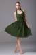 Dark Green Sweetheart Halter Pleated Maid of Honor Dress Short