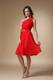 Ruching One Shoulder Short Dresses For Bridesmaid in Red with Sash