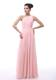 Baby Pink Single Shoulder Beaded Princess Dresses For Bridesmaid