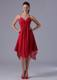 Red Spaghetti Straps Sweetheart Dresses For Bridesmaid with Asymmetric Trim