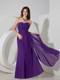 Purple Sweetheart Ruched Chiffon Strapless Maid of Honor Dress
