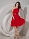 Pleated One Shoulder Red Bridesmaid Dress Mini-length with Lace up Back