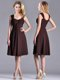 Best Selling Empire Ruched Brown Mother of The Bride Dress with Wide Straps