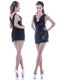 Latest Column Low Cut Neckline Sequined Mother of The Bride Dress in Black
