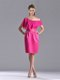 Latest Column One Shoulder Hot Pink Mother of The Bride Dress with Zipper Up