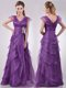 Low Price V Neck Eggplant Purple Mother of The Bride Dress with Beading and Ruffles